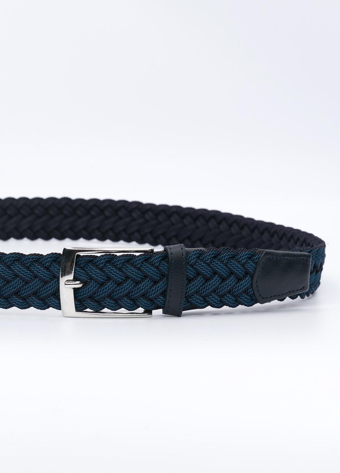 Cinturón Sport trenzado, color azulón y azul marino. Piel y algodón. - Ítem1