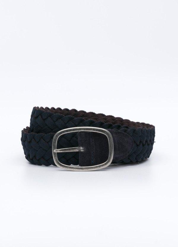 Cinturón Sport trenzado color marrón y azul marino. Piel y algodón.