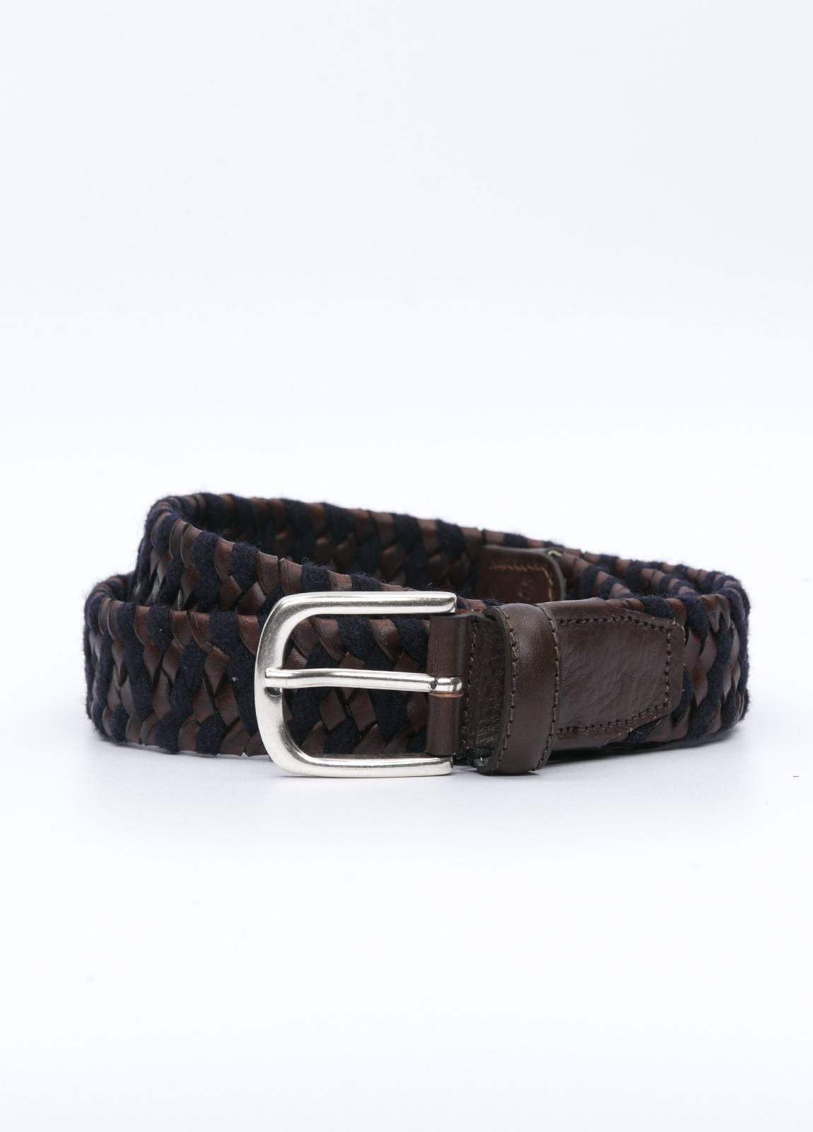 Cinturón sport piel trenzada color marrón y azul marino. 100% Piel y elástico.