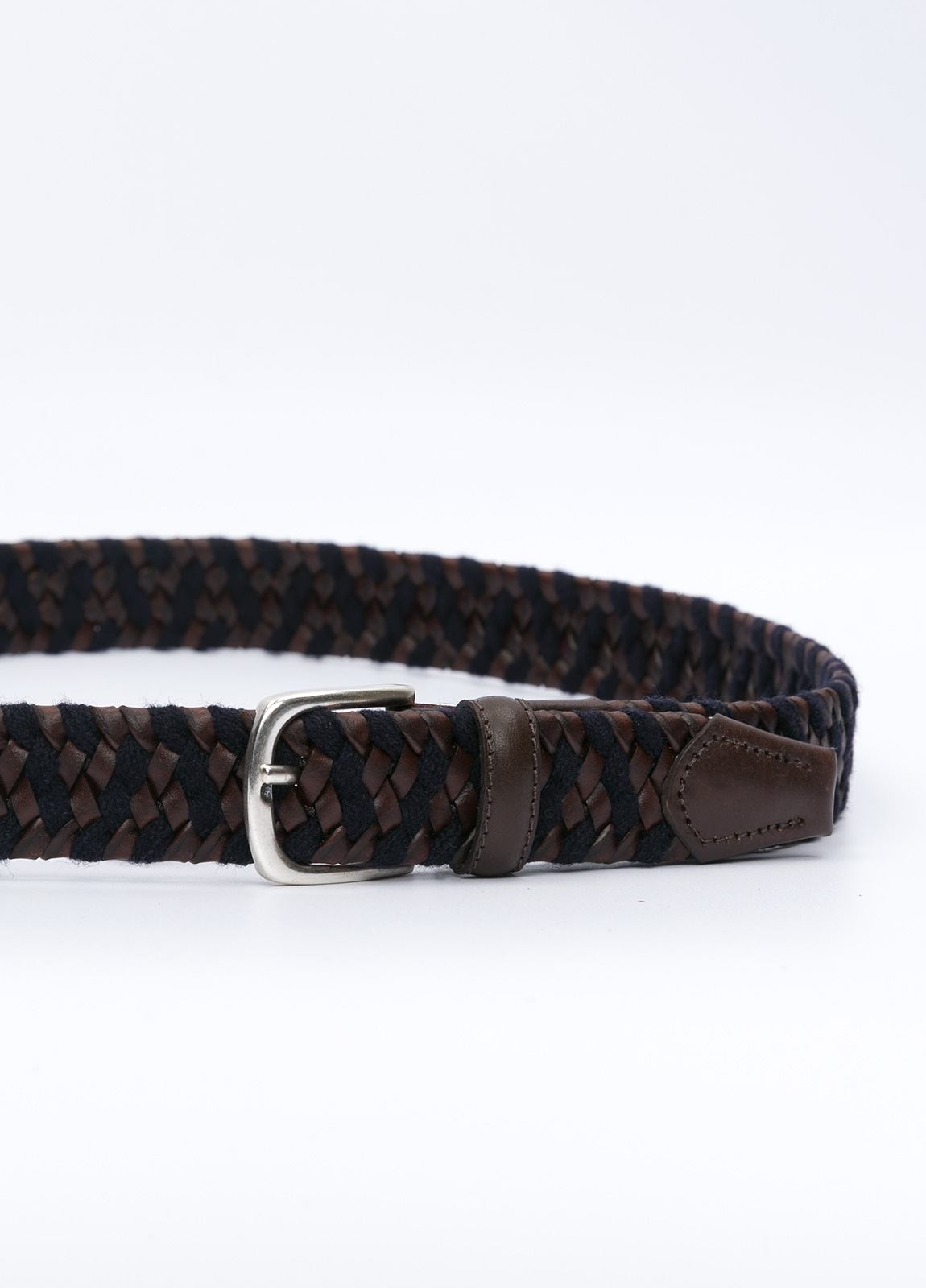 Cinturón sport piel trenzada color marrón y azul marino. 100% Piel y elástico. - Ítem1