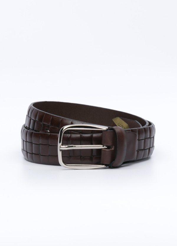 Cinturón sport piel grabado pastillas color marrón. 100% Piel.