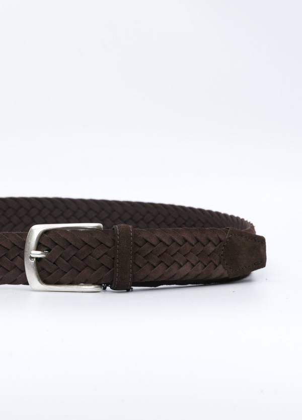 Cinturón sport piel trenzada color marrón. 100% Piel serraje. - Ítem1