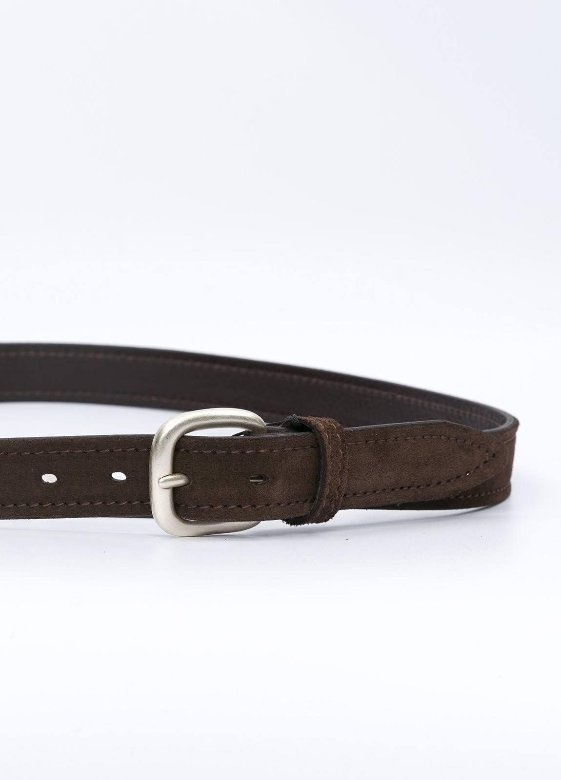 Cinturón sport piel liso color marrón. 100% Piel serraje. - Ítem1