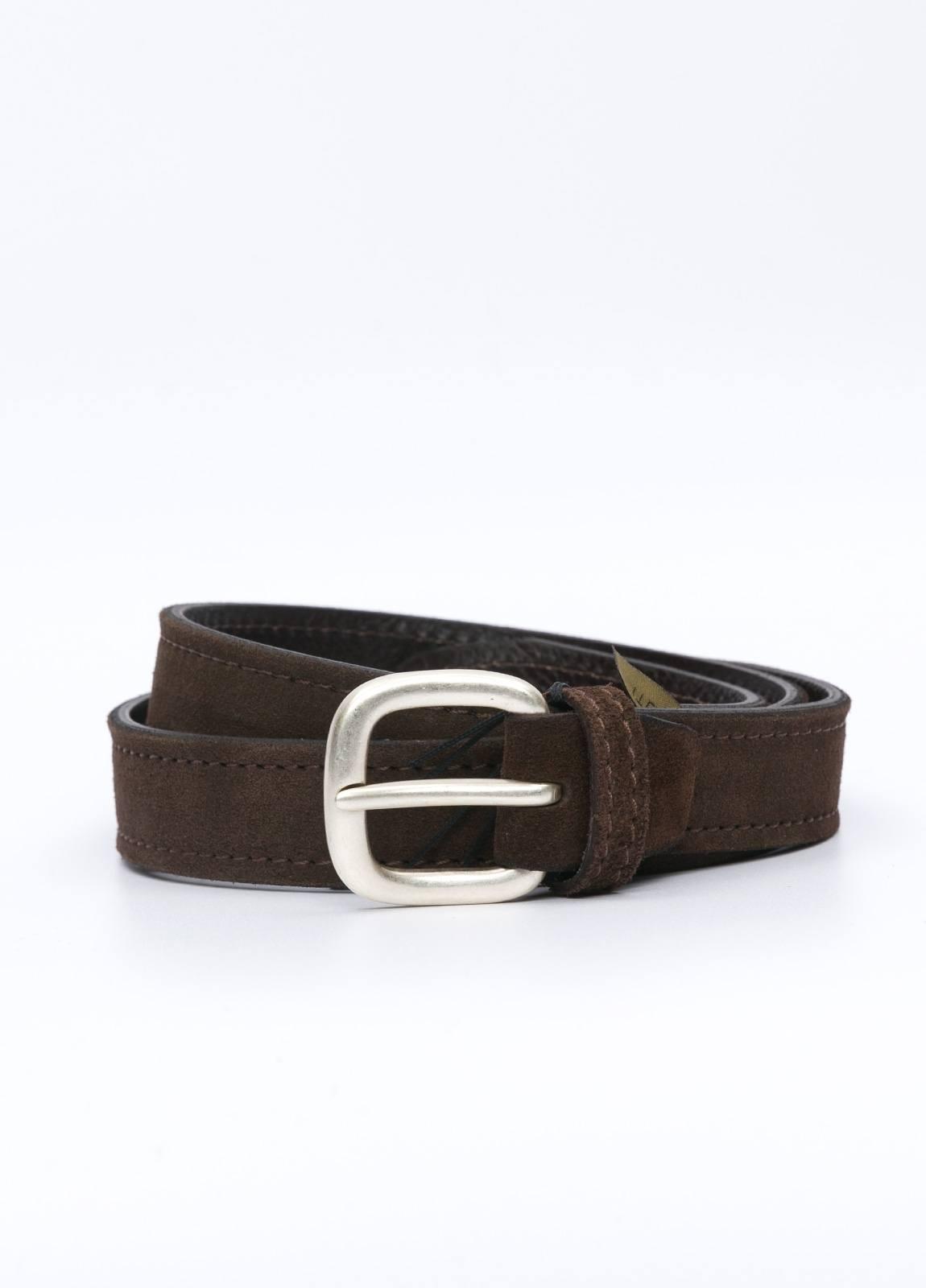 Cinturón sport piel liso color marrón. 100% Piel serraje.