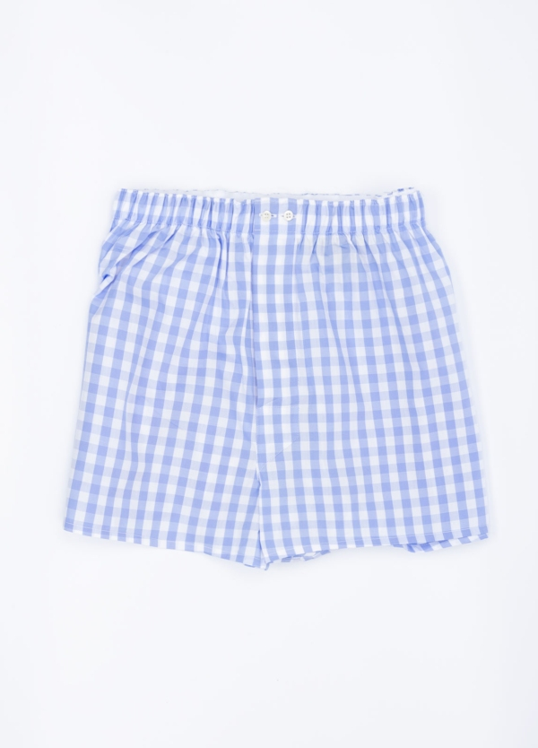 Boxer estampado cuadros azul celeste, 100% Algodón. Bolsa incluida del mismo tejido.