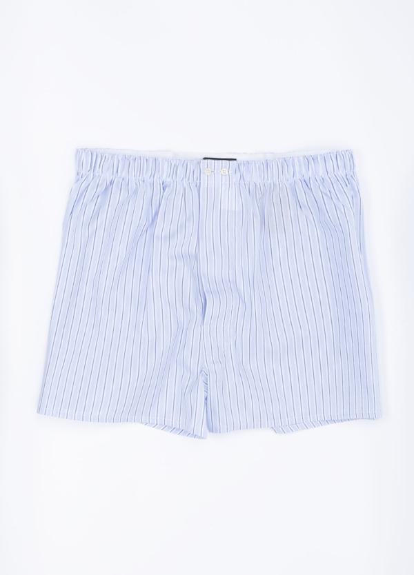 Boxer estampado rayas azul celeste, 100% Algodón. Bolsa incluida del mismo tejido.