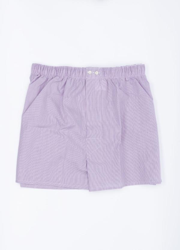 Boxer estampado 1000 rayas lila, 100% Algodón. Bolsa incluida del mismo tejido.