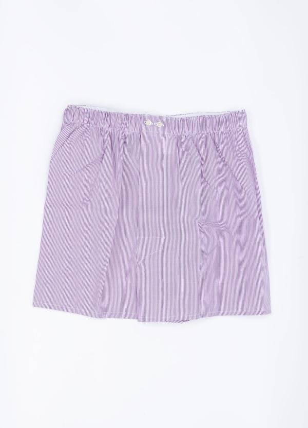 Boxer estampado rayas lila, 100% Algodón. Bolsa incluida del mismo tejido.