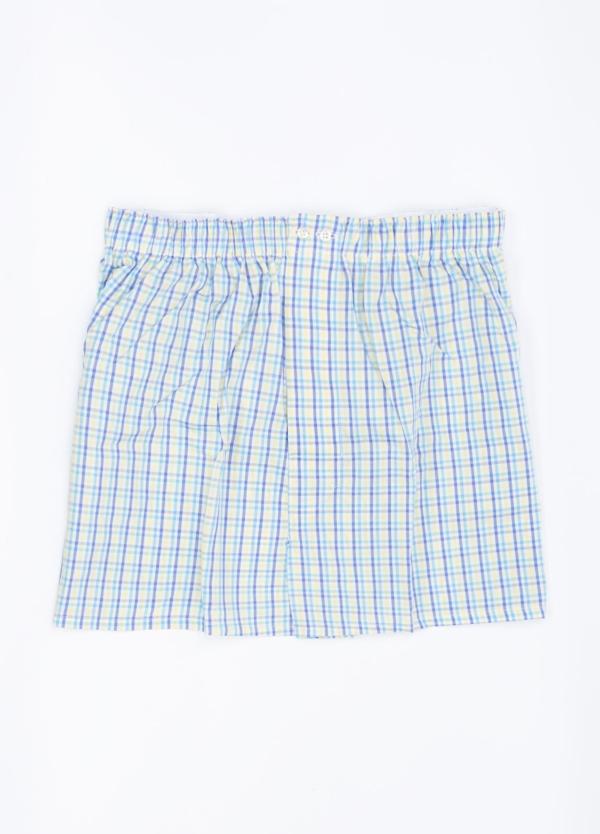 Boxer estampado cuadros azul celeste y amarillo, 100% Algodón. Bolsa incluida del mismo tejido.