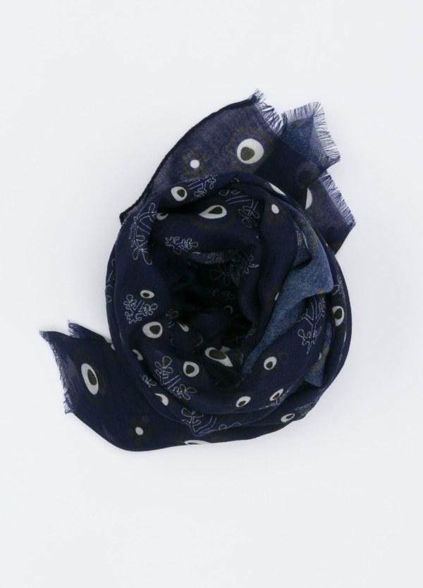 Foulard estampado color azul noche, 60 x 180 cm.