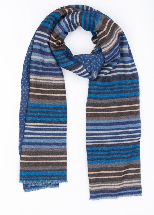 Foulard doble faz, dibujo rayas y topos, color azul y tostado, 55 X 180 cm. 100% Lana.
