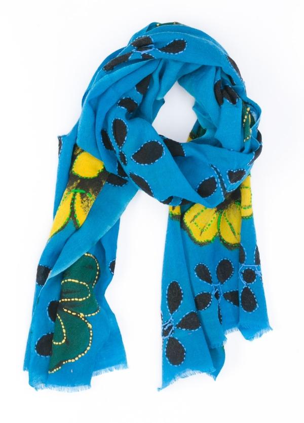Foulard fantasía flores color azul 70x180.