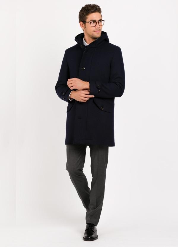 Chaqueta acolchada con capucha color azul marino, 70% Lana, 30% Pol.