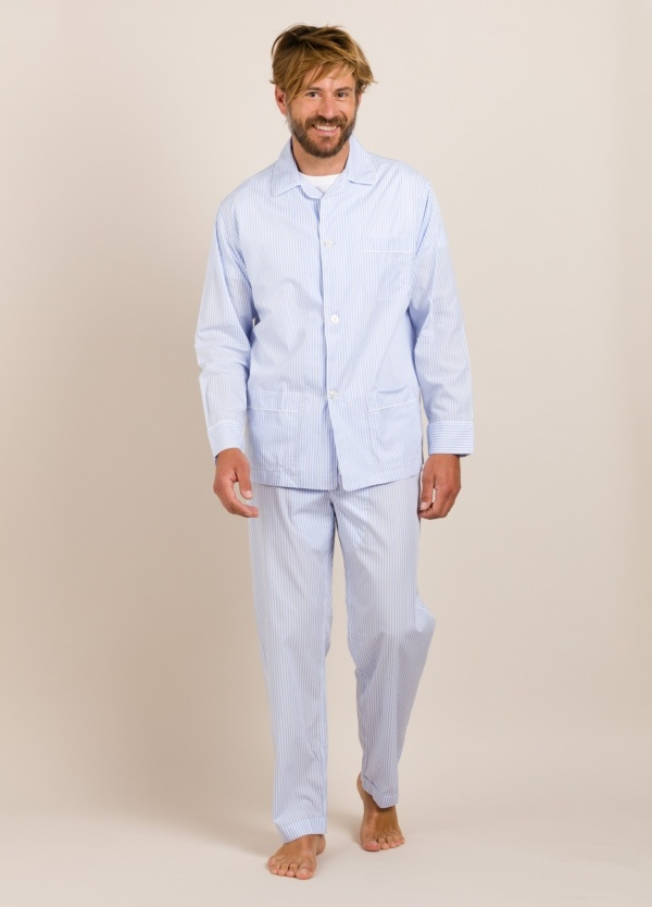 Pijama largo FUREST COLECCIÓN rayas celeste