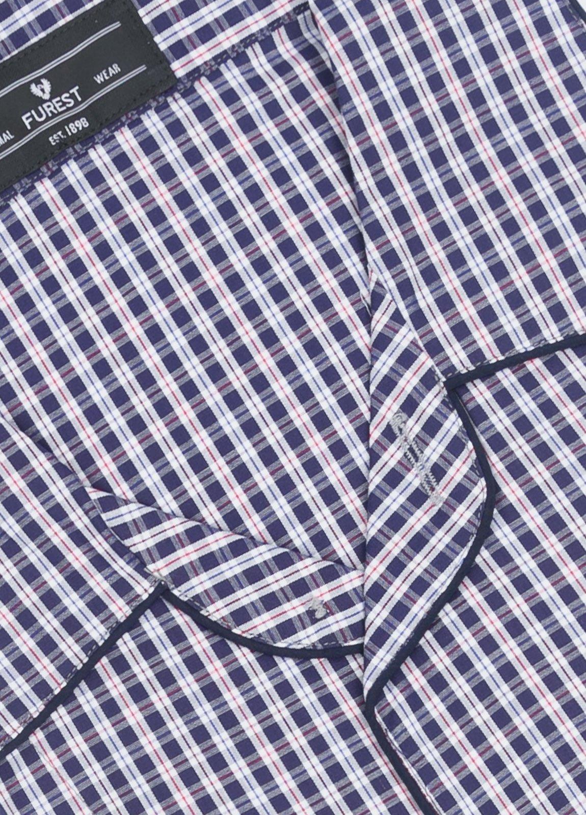 Pijama largo FUREST COLECCIÓN cuadros marino y rojo - Ítem2