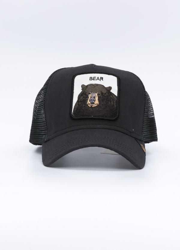 Gorra Trucker color piedra dibujo oso.