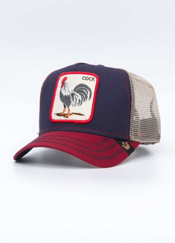 Gorra Trucker color arena dibujo gallo