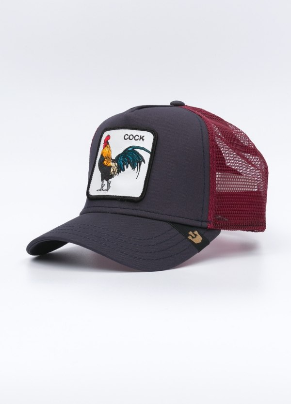 Gorra Trucker GOORIN BROS granate dibujo gallo.