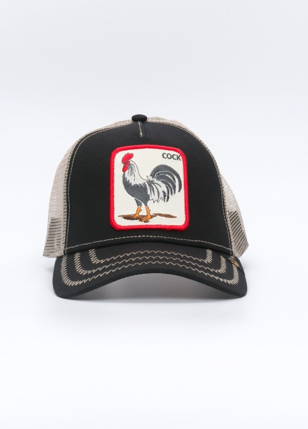 Gorra TRUCKER color arena dibujo gallo