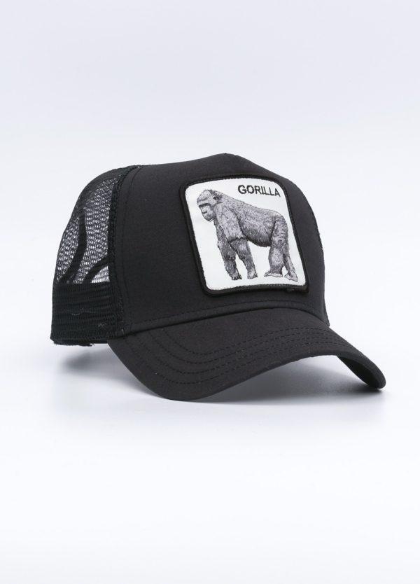 Gorra Trucker color negro diibujo gorila.