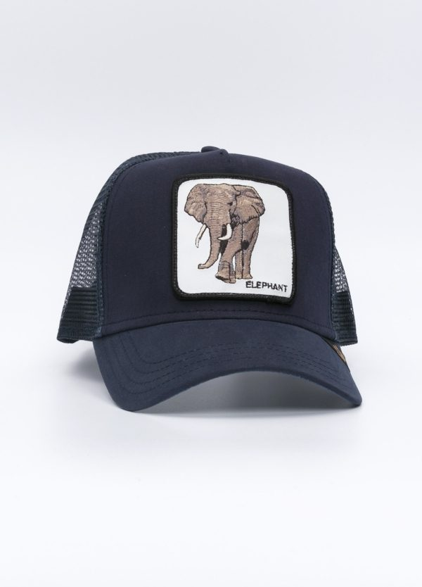 Gorra Trucker color azul dibujo elefante.