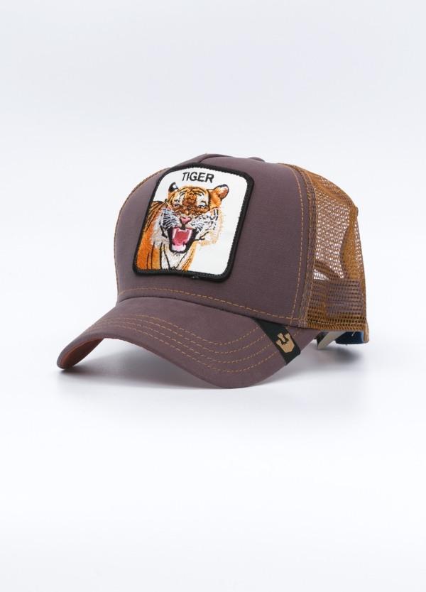 Gorra Trucker color teja dibujo tigre.
