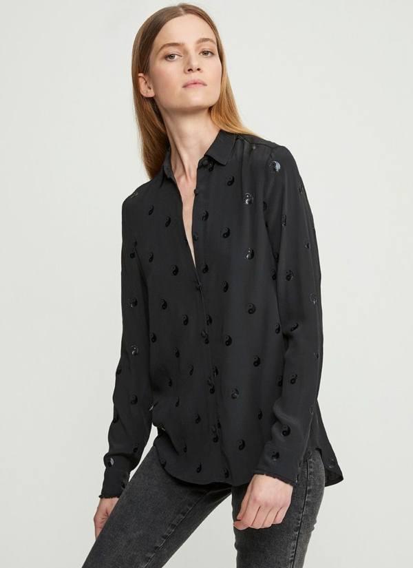 Camisa woman holgada, suave y ligera, estampado Ying Yang color negro. 100% Viscosa.