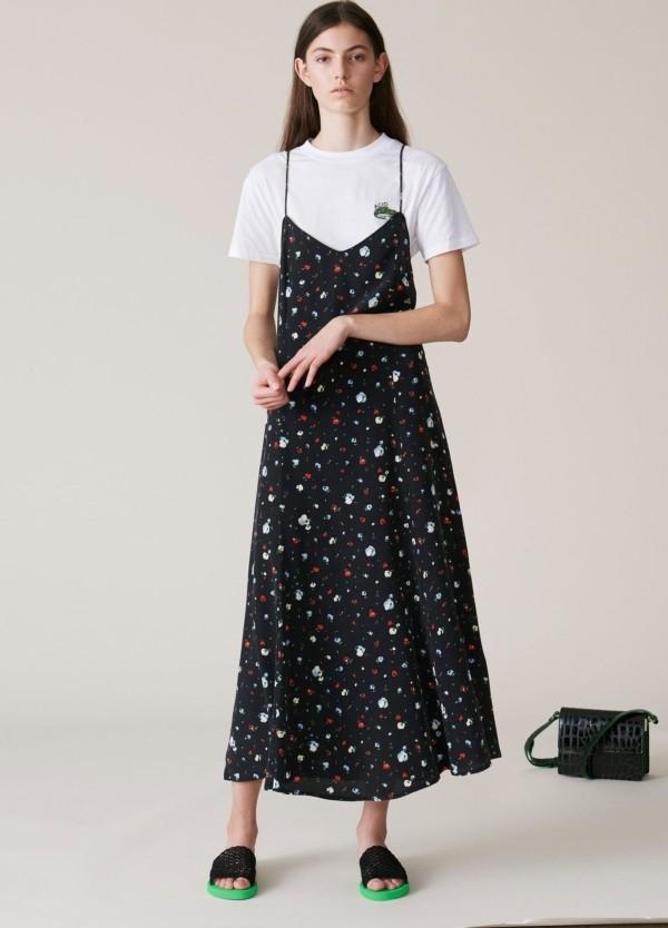 Vestido tirante fino, estampado flores color negro. 100% Seda.