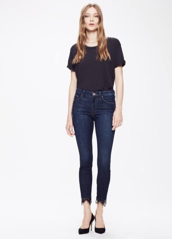 Tejano Woman Skinny, cintura alta y bajos con encaje, color azul denim oscuro. 93% Algodón, 6% pol, 1% Ea.