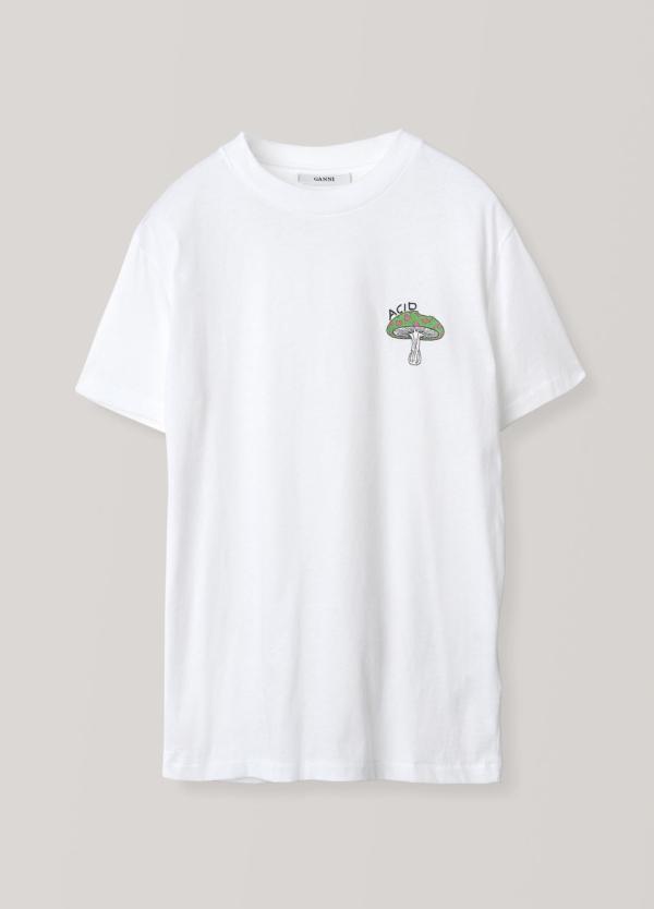 Camiseta regular manga corta, dibujo en el pecho. Color blanco. 100% Algodón.