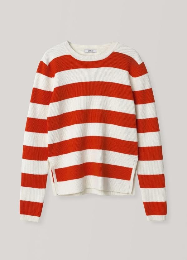Jersey woman de punto, cuello redondo, aberturas laterales. Rayas color blanco y rojo. 90% Algodón, 10% PA.