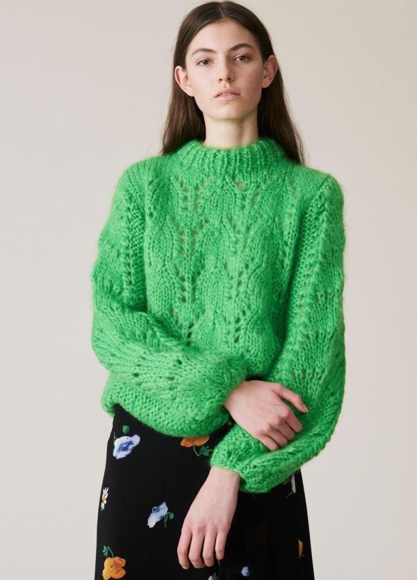 Jersey woman grueso, tejido a mano en la Toscana. De cuello redondo y manga de globo. Color verde. 50% Mohair, 50% Lana.