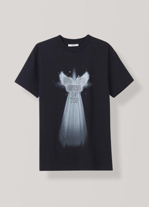 Camiseta woman manga corta, estampado alas de angel color negro. 100% Algodón.