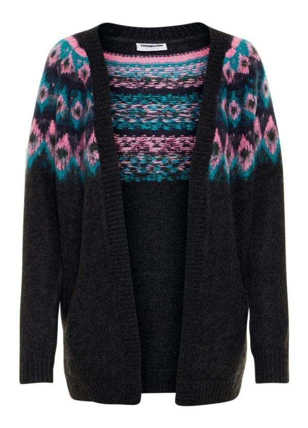 Cardigan Woman abierto con bolsillos, color gris oscuro y patrón de color en hombros. 100% Acrílico.