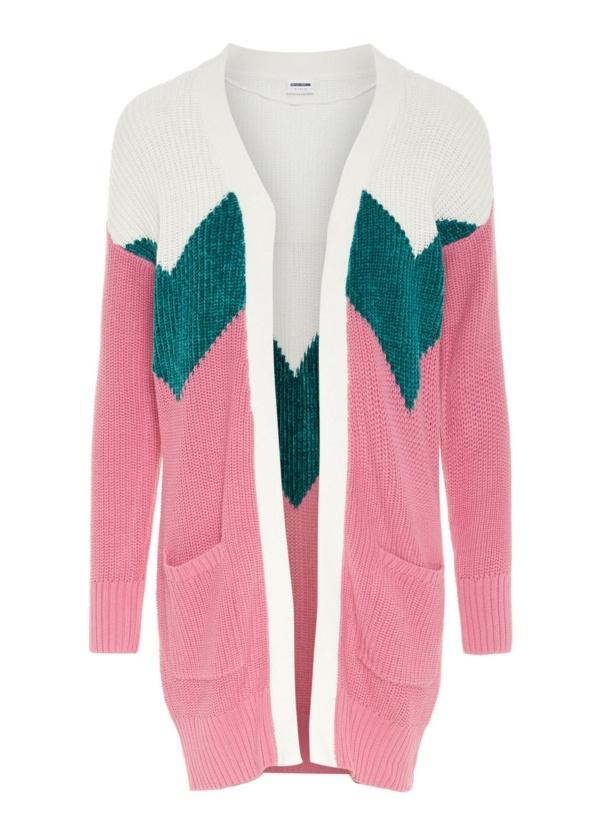 Cardigan Woman abierto con bolsillos, color rosa y patrón de color en hombros. 40% Acrílico, 40% Algodón 20% Pol.