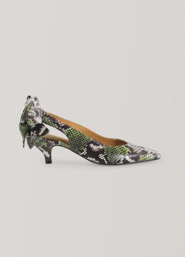 Zapato salón woman abierto tobillo. Color verde. 100% Piel de becerro texturizada.