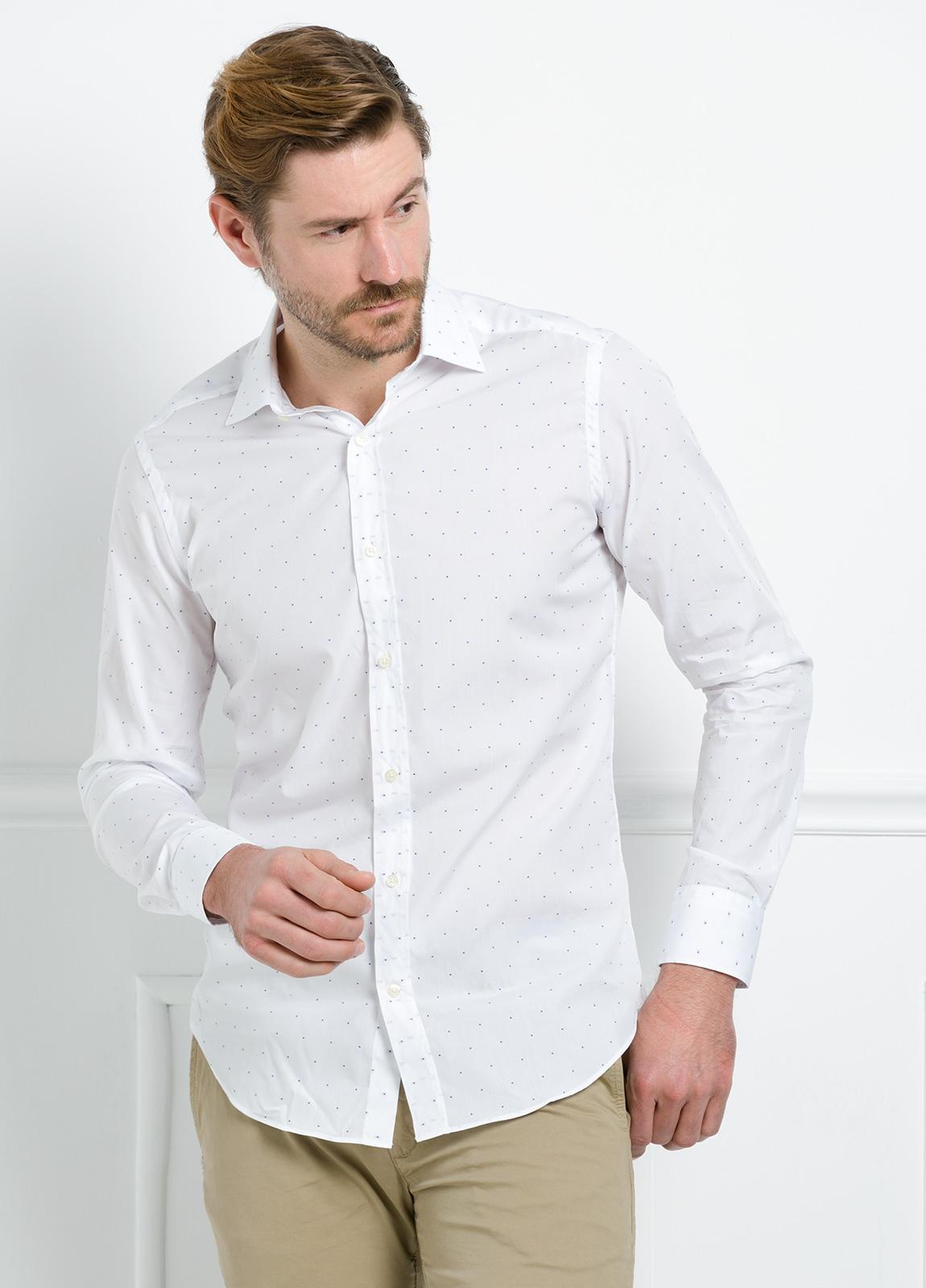Camisa Formal Wear REGULAR FIT cuello italiano modelo TAILORED NAPOLI diseño de rayas color celeste, 100% Algodón. - Ítem3