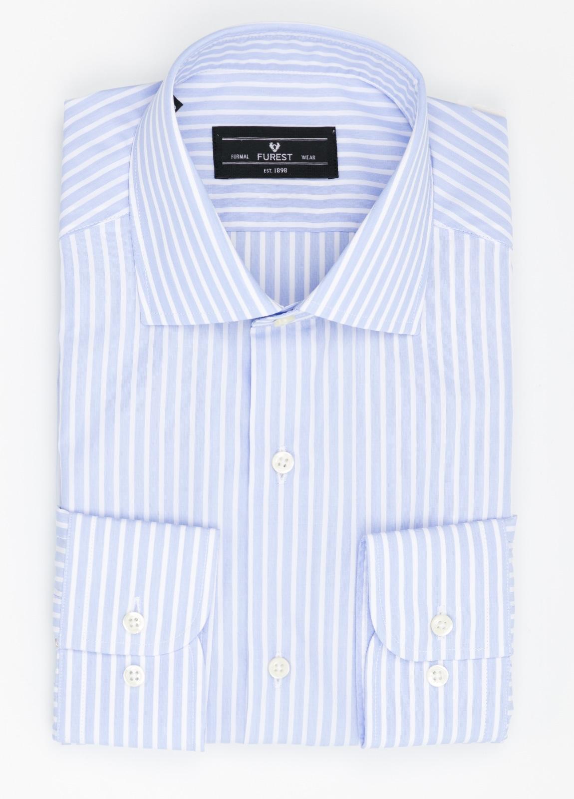 Camisa Formal Wear REGULAR FIT cuello italiano modelo TAILORED NAPOLI diseño de rayas color celeste, 100% Algodón.