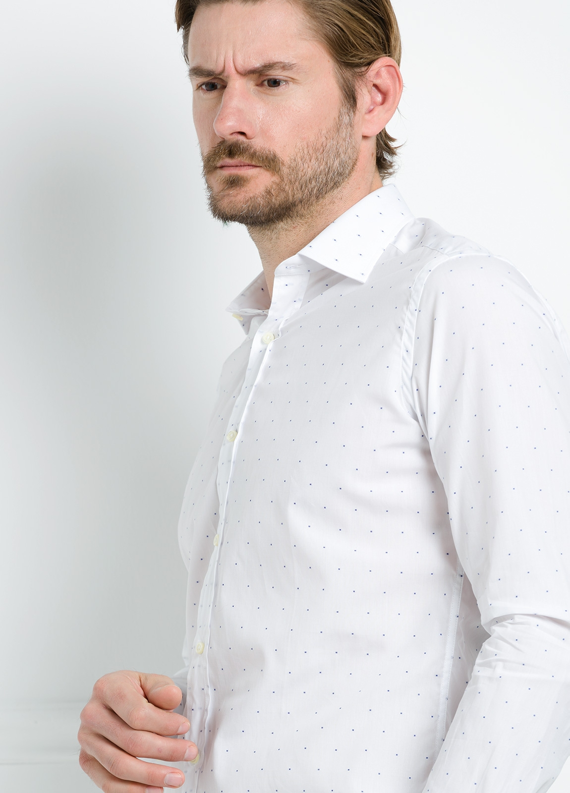 Camisa Formal Wear REGULAR FIT cuello italiano modelo TAILORED NAPOLI diseño de rayas color celeste, 100% Algodón. - Ítem2