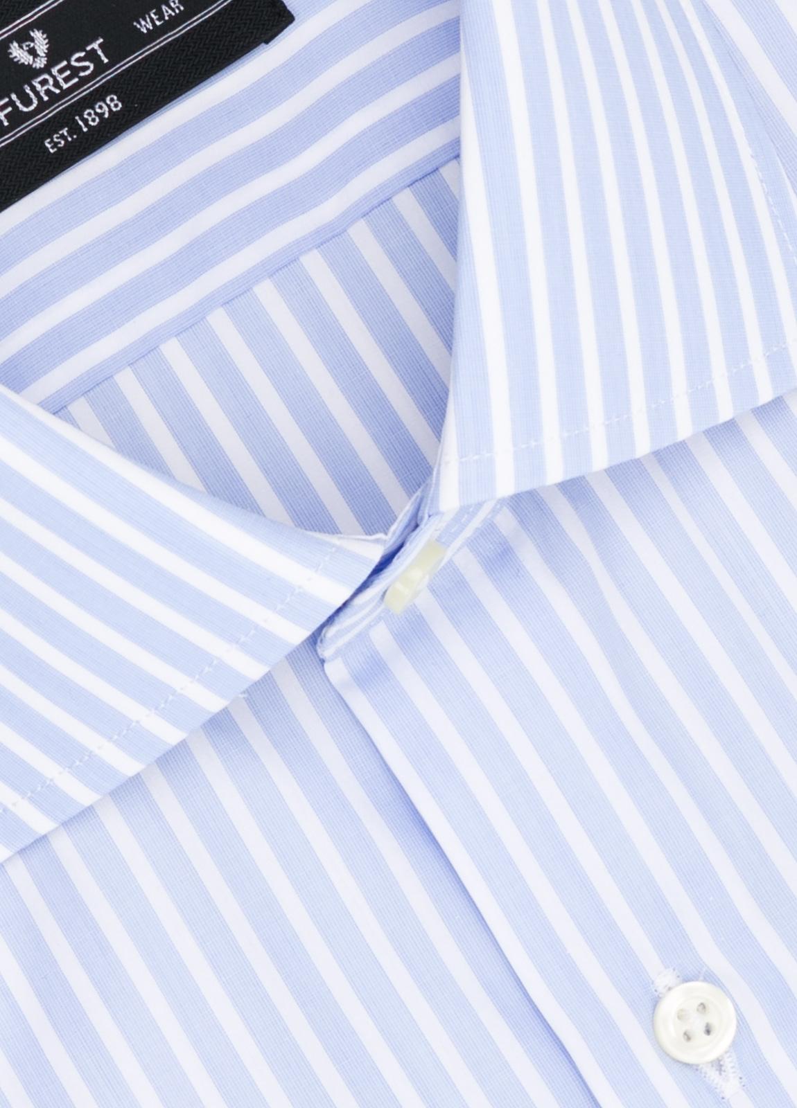 Camisa Formal Wear REGULAR FIT cuello italiano modelo TAILORED NAPOLI diseño de rayas color celeste, 100% Algodón. - Ítem1