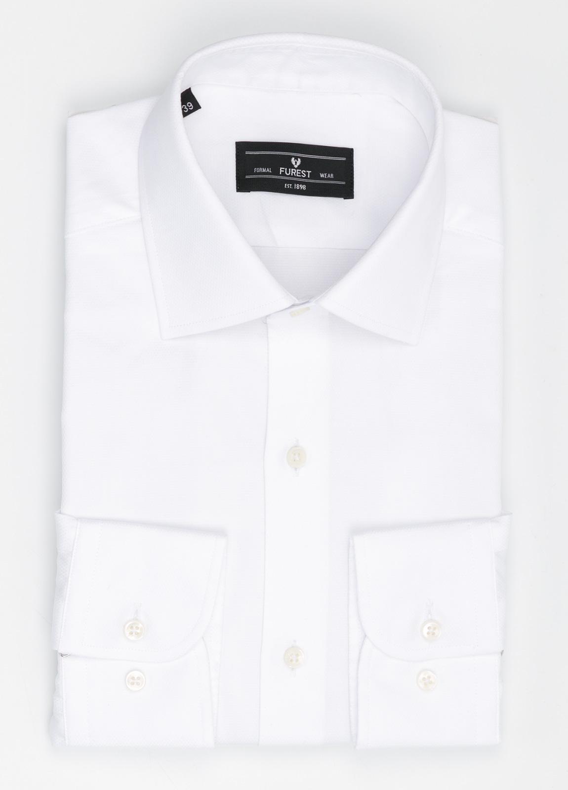 Camisa Formal Wear SLIM FIT cuello italiano modelo ROMA micro grabado color blanco, 100% Algodón.