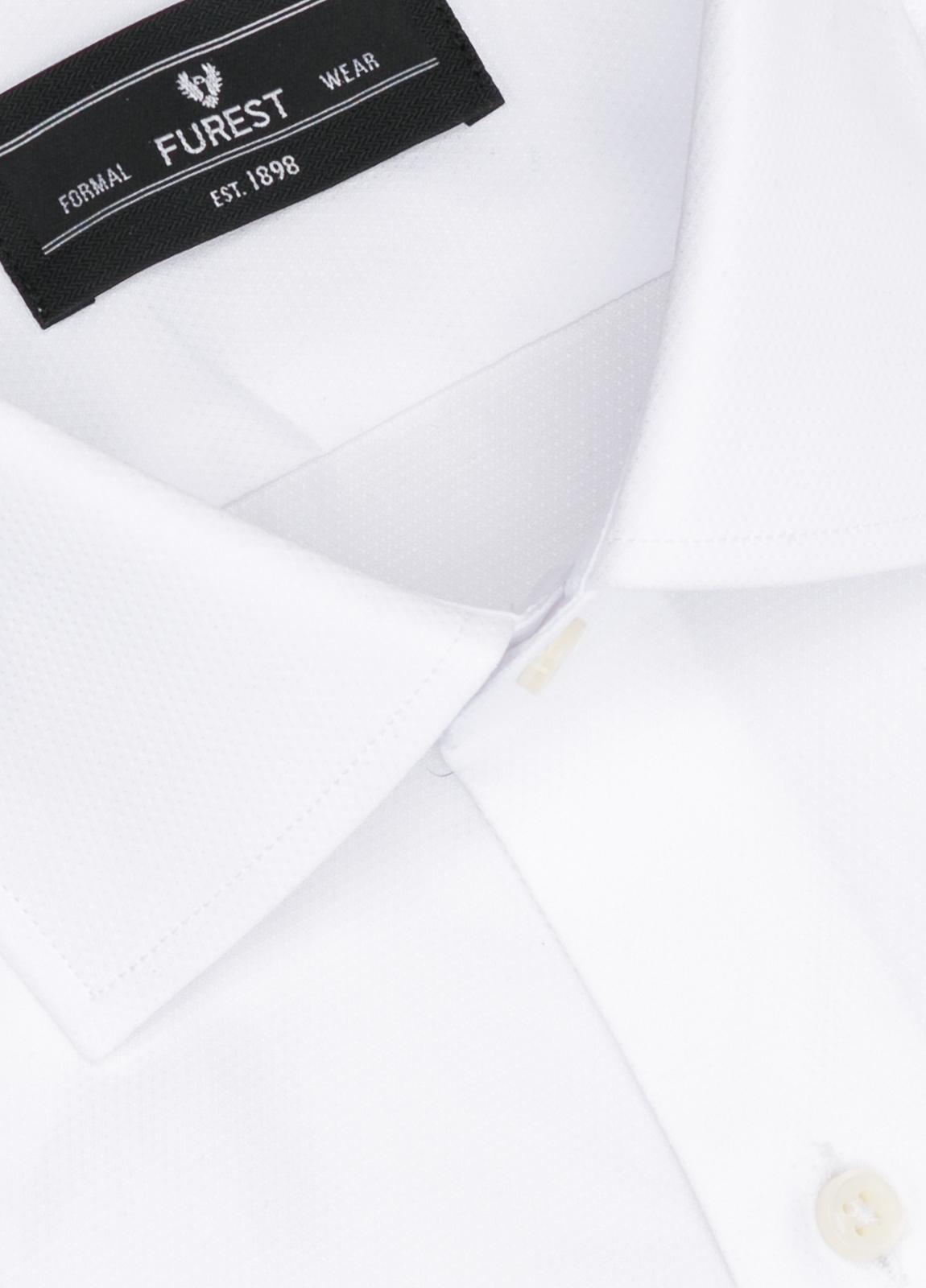 Camisa Formal Wear SLIM FIT cuello italiano modelo ROMA micro grabado color blanco, 100% Algodón. - Ítem1