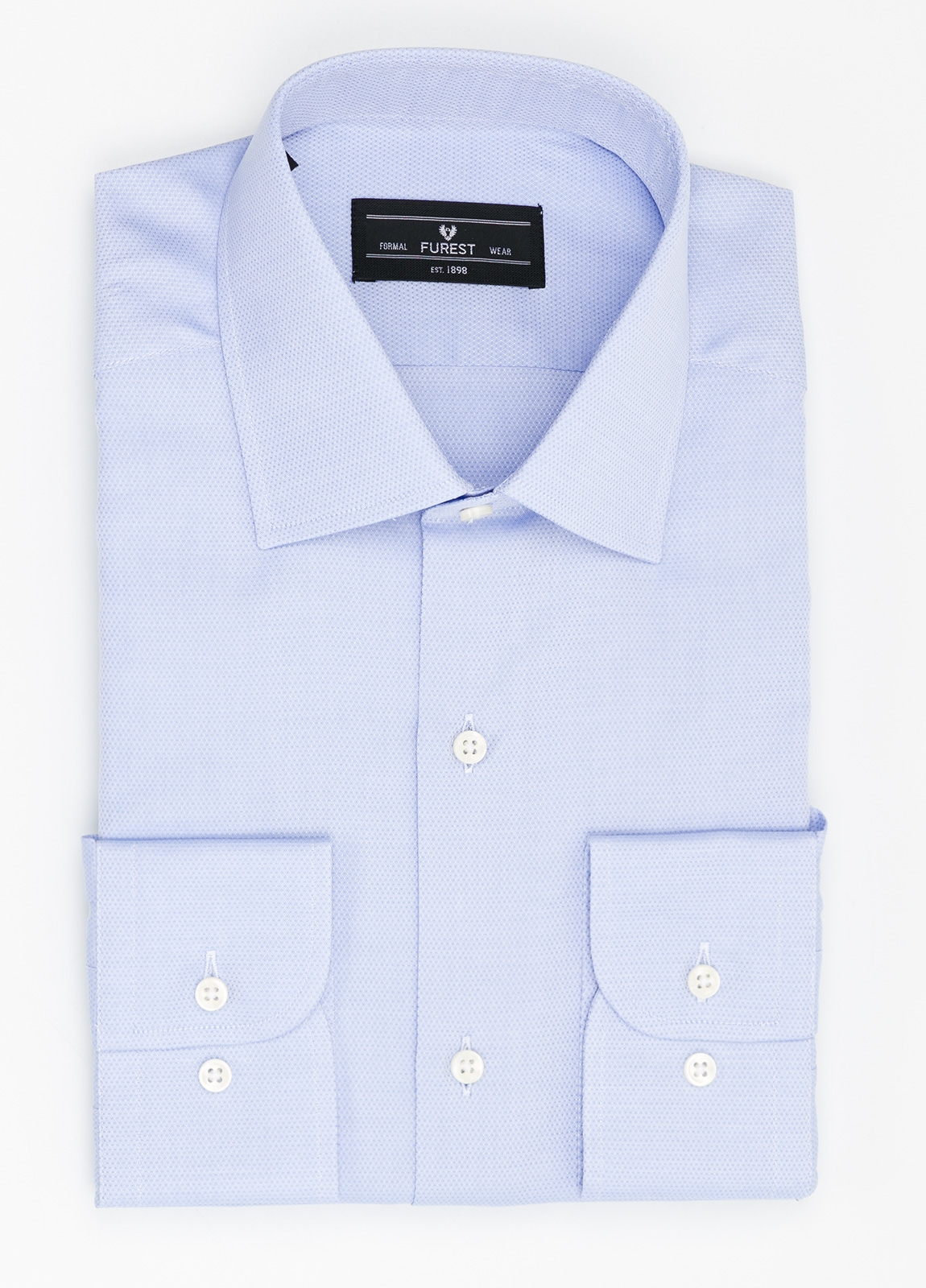 Camisa Formal Wear SLIM FIT cuello italiano modelo ROMA micro grabado color celeste, 100% Algodón.