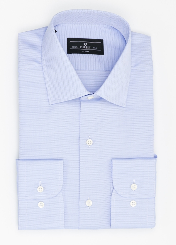 Camisa Formal Wear SLIM FIT cuello italiano modelo ROMA micro grabado color celeste, 100% Algodón.