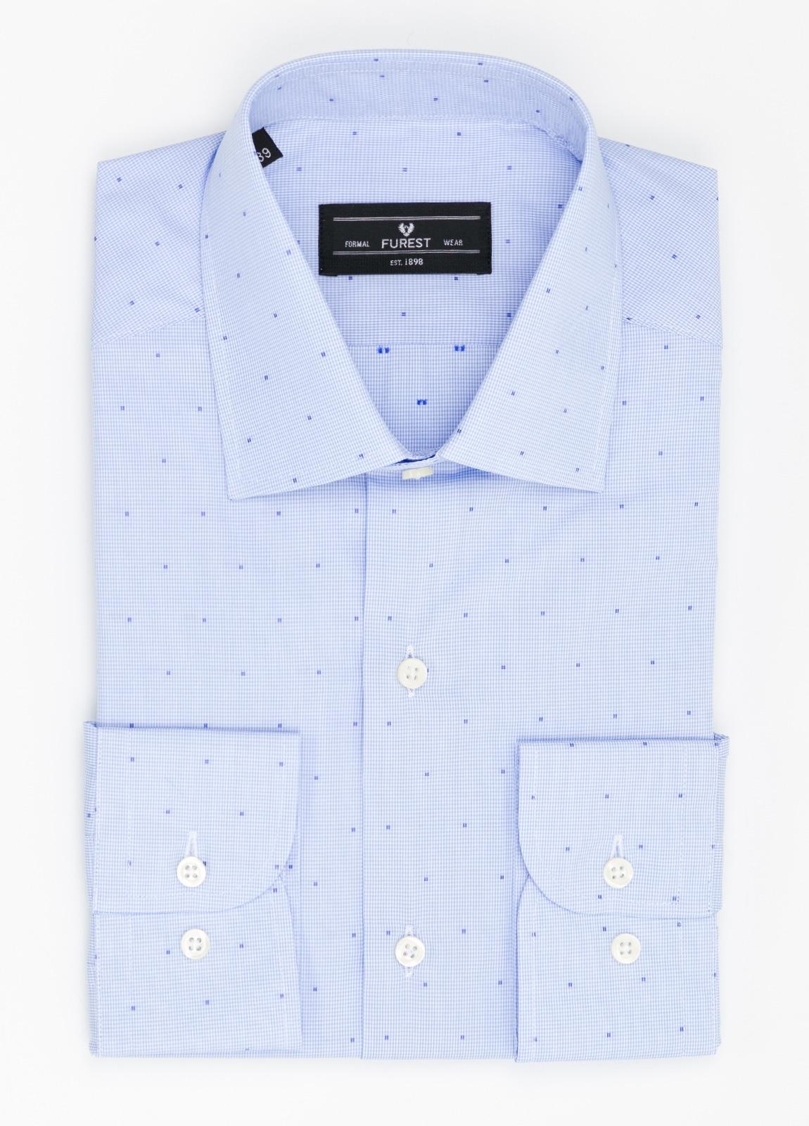 Camisa Formal Wear SLIM FIT cuello italiano modelo ROMA micro dibujo color celeste, 100% Algodón.