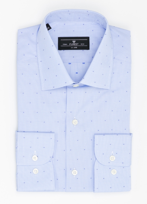 Camisa Formal Wear SLIM FIT cuello italiano modelo ROMA micro dibujo color celeste, 100% Algodón.