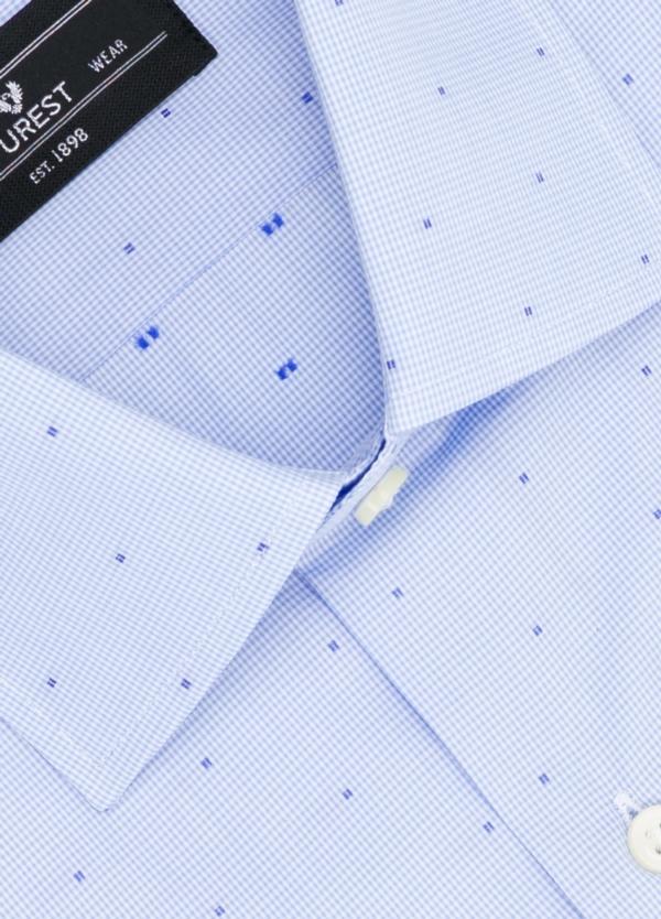 Camisa Formal Wear SLIM FIT cuello italiano modelo ROMA micro dibujo color celeste, 100% Algodón. - Ítem1