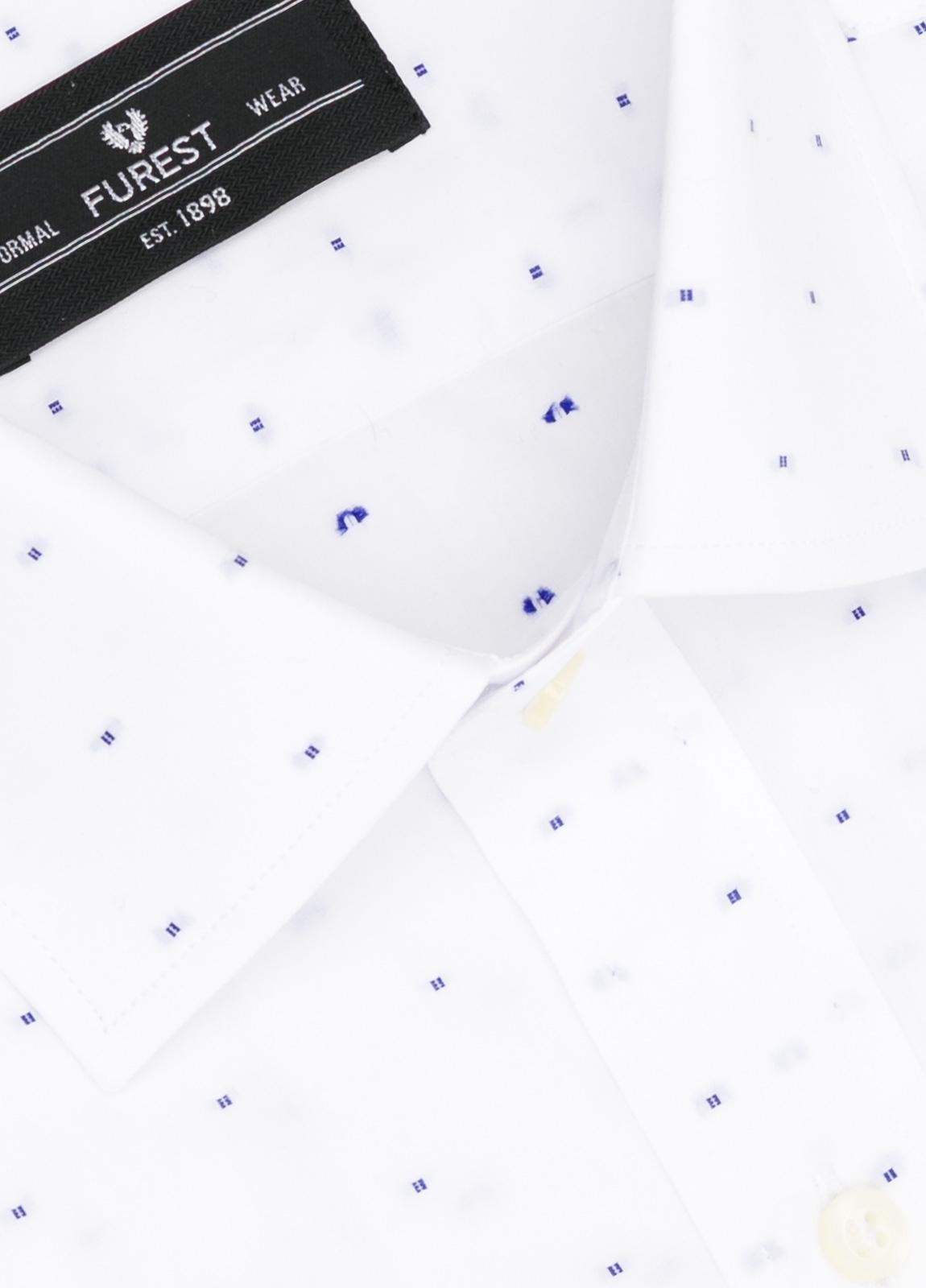 Camisa Formal Wear SLIM FIT cuello italiano modelo ROMA color blanco con micro dibujo color azul. 100% Algodón. - Ítem1