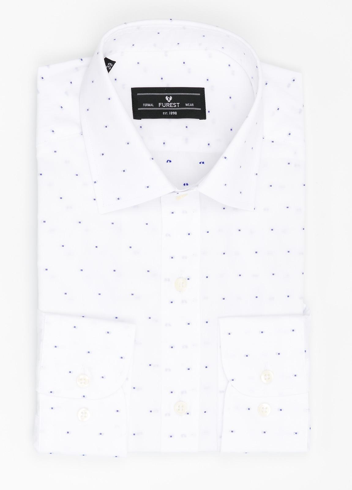 Camisa Formal Wear SLIM FIT cuello italiano modelo ROMA color blanco con micro dibujo color azul. 100% Algodón.
