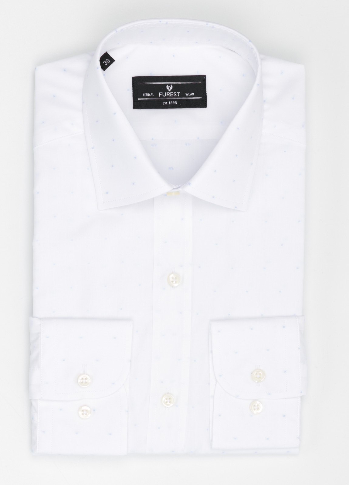 Camisa Formal Wear SLIM FIT cuello italiano modelo ROMA color blanco con micro dibujo color celeste. 100% Algodón.